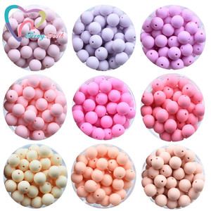 Image 5 - Teeny Teeth 100 PCS 45 Colors 12 15 MM Silicone Baby Teether Round Beads BPA Free Chewable Silicone Beads DIY Teething Toys