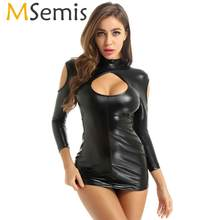 MSemis Women Pole Dance Dress with G-string Thong Underwear Sexy Leather Mini Bodycon Cut Out Shoulders Keyhole Front Dress(China)
