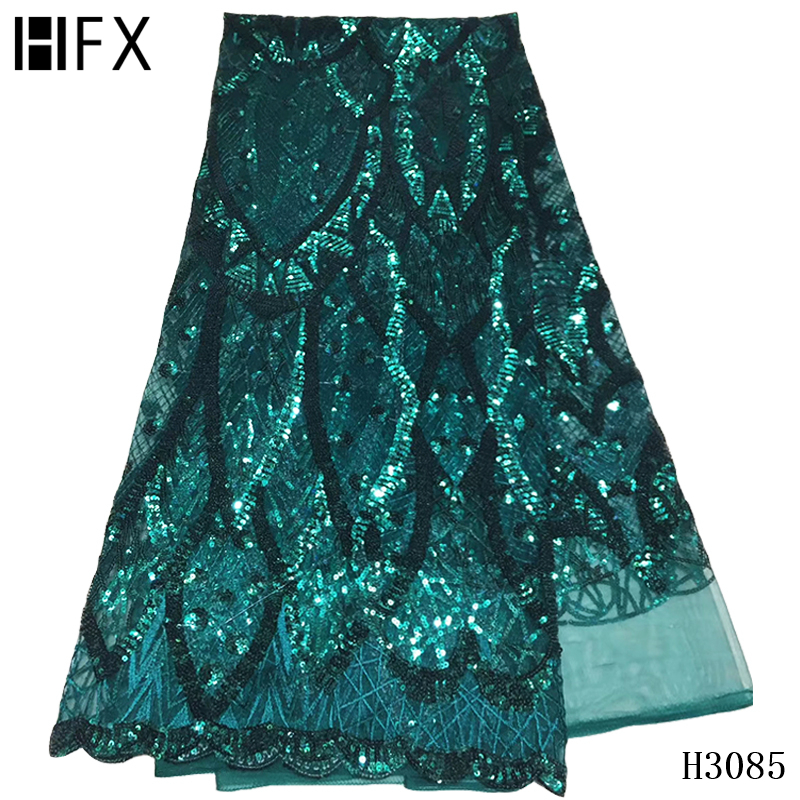 HFX sequin lace fabric 2020 high quality african lace green party dress french embroidery nigeria bridal tulle lace fabric X3085