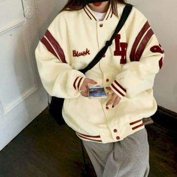 Jacket Women Jackets Oversized Baseball Punk Clothes Autumn/winter New Clothes Korean Students Thickened Plus Velvet Sweatshirt 1