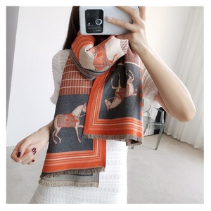 Image 1 - 2019 Fashion Pashmina Scarf for Women Animal Print Winter Cashmere Scarfs Female 185*65cm Shawls and Wraps Neck Scarves For Lady