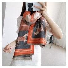 2019 moda pashmina cachecol para mulher animal impressão inverno cashmere scarfs feminino 185*65cm xales e envoltórios lenços de pescoço para senhora