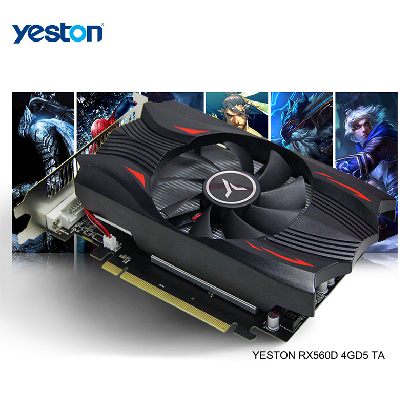 Yeston Radeon RX 560D GPU 4GB GDDR5 128 Bit Gaming Desktop Computer PC Video Graphics Cards Support DVI-D/HDMI 2.0B