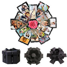 Diy caixa de surpresa artesanal hexágono explosão scrapbook álbum de fotos caixa de presente de casamento para o natal dos namorados caixas de presente novo