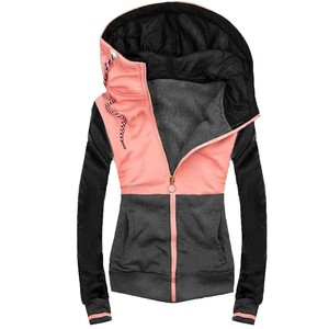 Women's Solid Stitching Drawstring Hooded Slim Fashion Jacket Coat Outwear