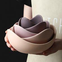 Lotus cerâmica tigela pratos e placas define placa de frutas criativas simples zen decoração armazenamento frutas 3/4/5pcs conjunto pratos de jantar cerâmica