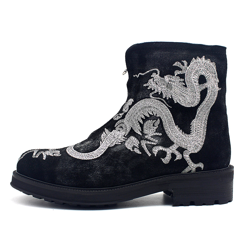 Embroidered Silver Dragon Ankle Boots Men Vintage Platform Zip Round Toe Cowboy Boots Casual Party Botas Winter Runway Shoes Men