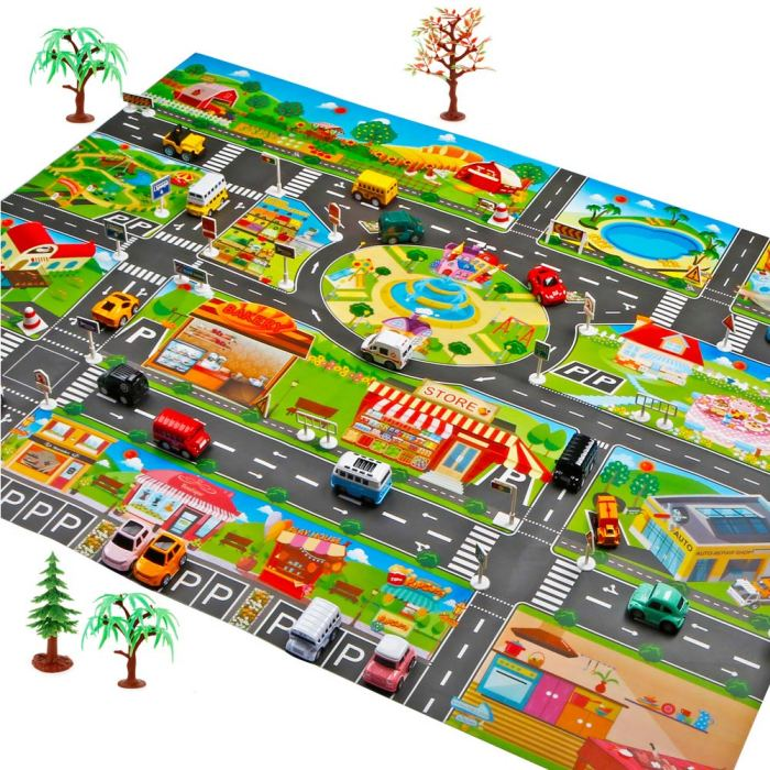 He63ef93bf8064187a6cbd1d035a93509z Hot Selling 130*100cm Children Play Mats House Traffic Road Signs Car Model Parking City Scene Map
