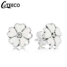 Cuteeco Hot Sale Silver Cherry Blossoms Pan Stud Earring White Enamel With Clear CZ Compatible Jewelry For Women Gifts
