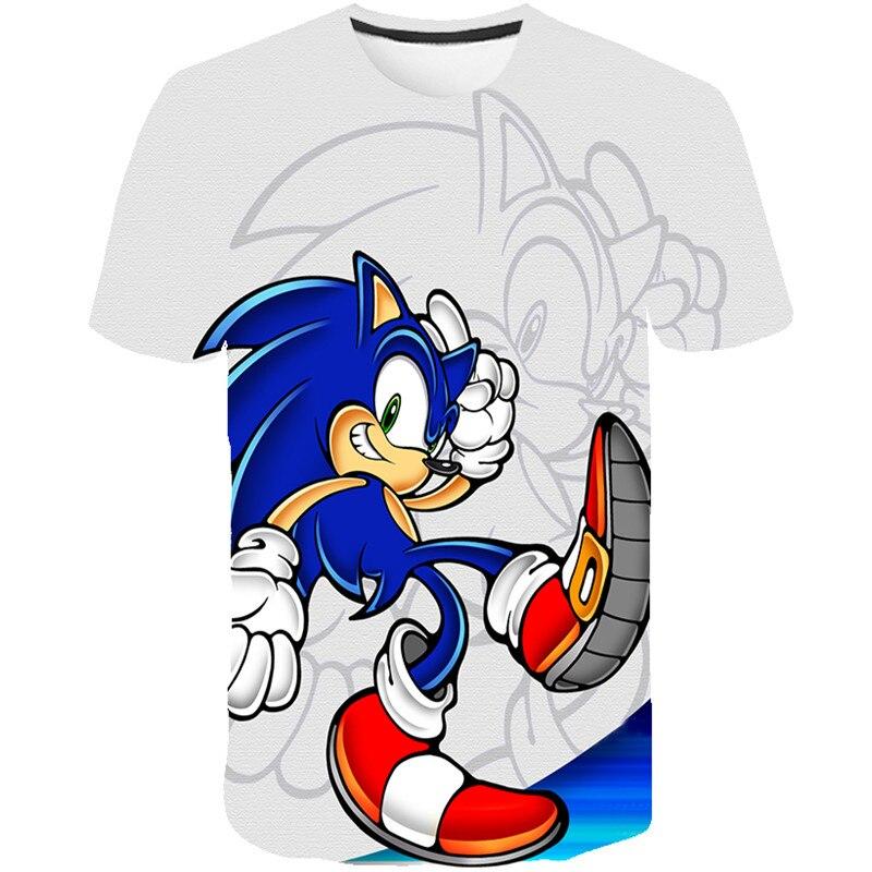 Kids 3D Cartoon Sonic The Hedgehog Print T-shirts Costume Boys T Shirt Girls Summer T-shirt Clothing Children Tee Tops Clothes