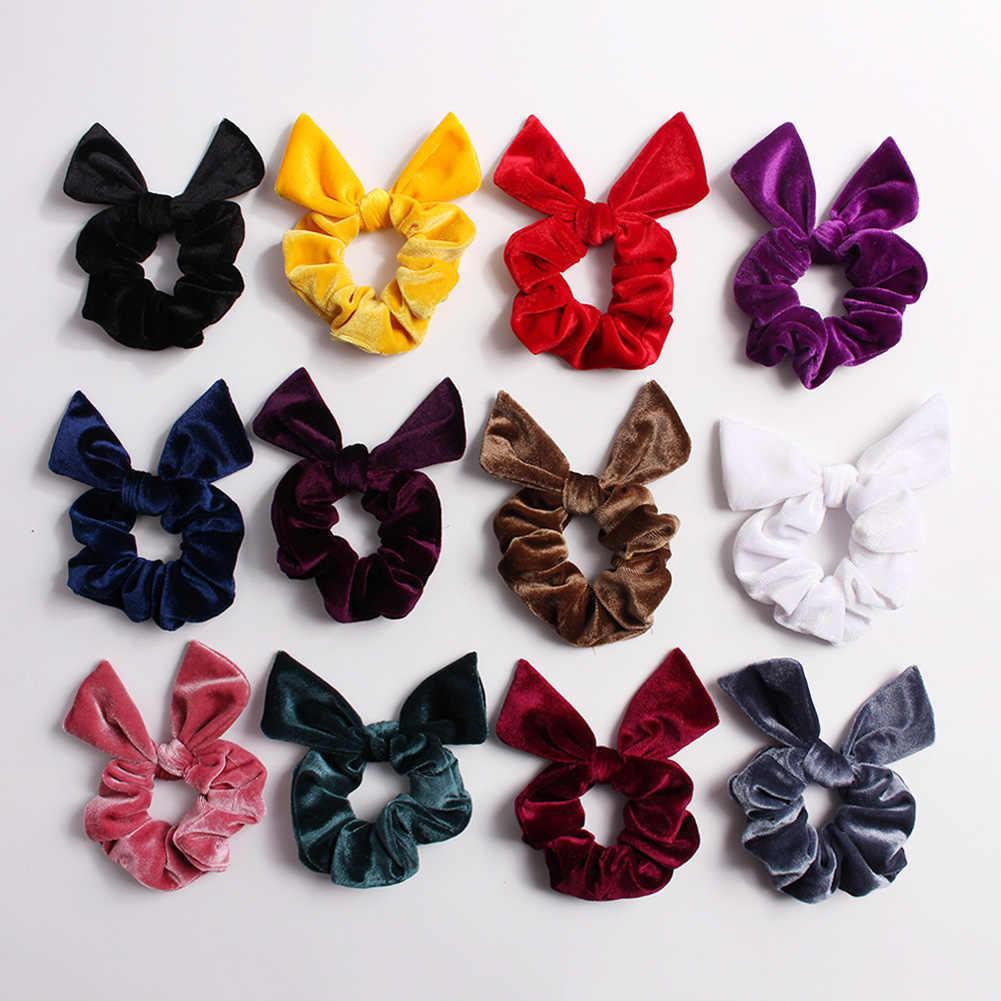 Soft Velvet Rabbit Ears Hair Scrunchies Knotted Bow Elastic Hair Bands Women Girls Sweet Cute Ponytail Holder Hair Accessories