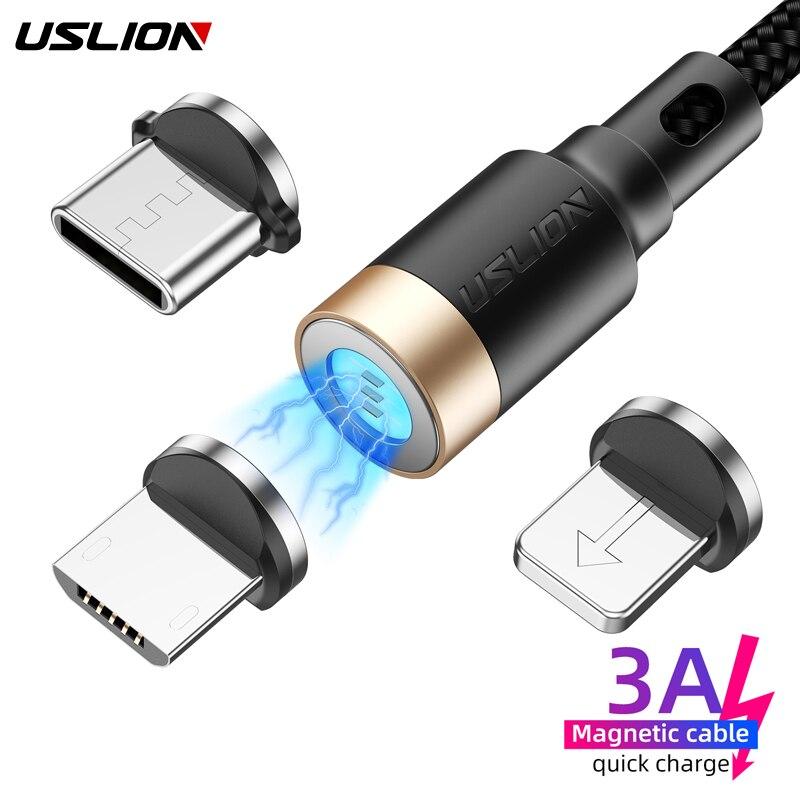 Cabo magnético USLION 3A de carregamento rápido, carregador micro USB tipo C para Xiaomi Samsung Iphone 11 XR cabo de dados magnético