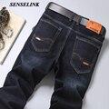 2021 весна осень новый стрейч джинсы мужские повседневные туфли в деловом стиле; Свободные джинсы Классический бренд Прямые размера плюс муж...