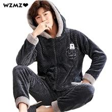 Pajama-Sets Long-Sleeve New-Year's-Pajamas Winter Homewear Men Cartoon Hooded for Thick