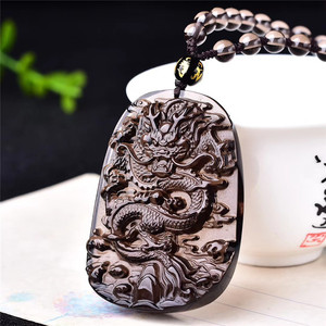Оптовая продажа Натуральный Счастливый амулет кулон ледяной дракон из обсидиана подвески ювелирные изделия