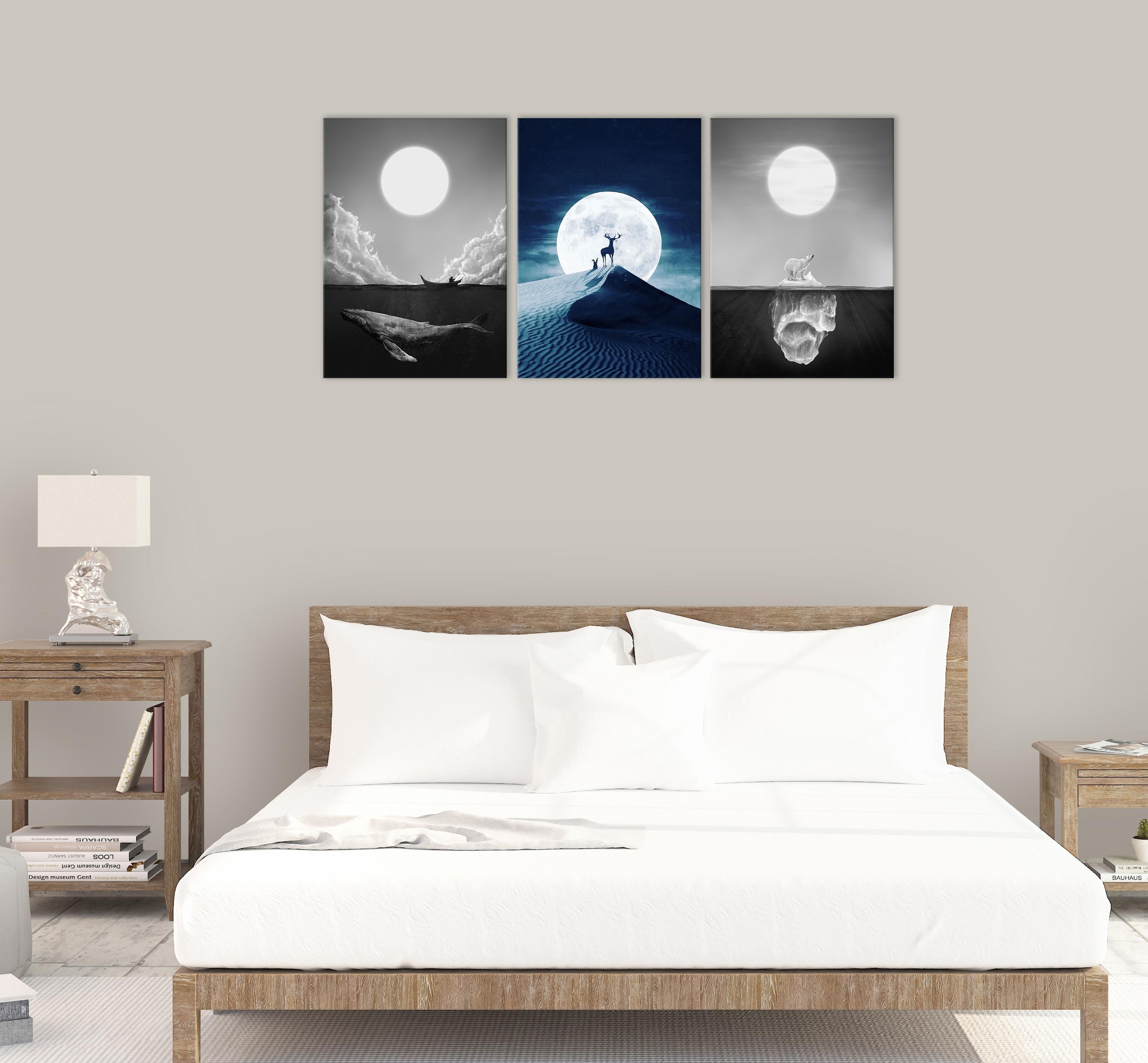 Noite lua céu golfinho mar parede arte decoração do deserto alce pintura da lona cozinha urso polar gelo montanha cópias fotos para casa - 3