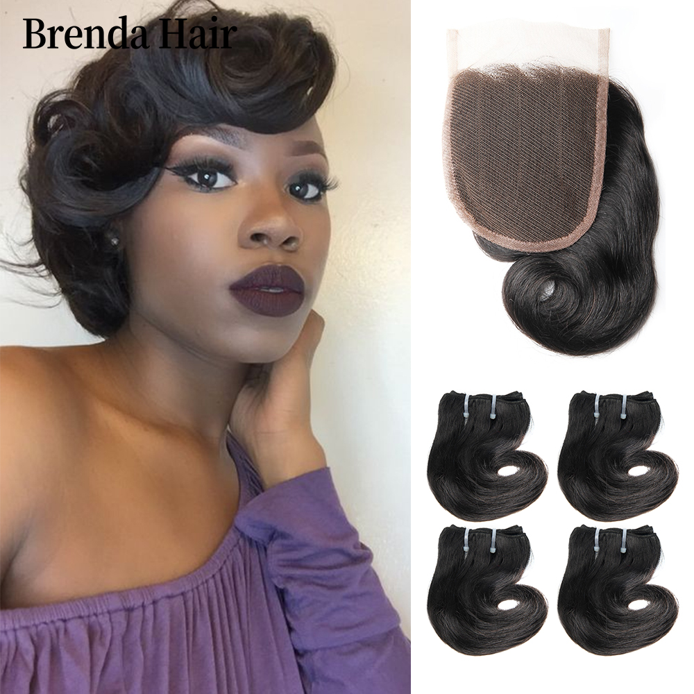 Brazilian Curly Bundles With Closure Remy Human Hair 8 Inch 4 Bundles With Closure/Lot 190g/Lot Brenda Human Hair Extensions