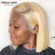 Perruque avant en dentelle droite perruque avant en dentelle Blonde perruque Bob dentelle perruque cheveux humains Megalook Remy Hair13X4 perruques courtes en cheveux humains 613 perruque Bob