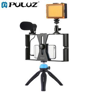 PULUZ смартфон видео Rig комплект смартфон видео ручка с микрофоном + видео свет + Холодный башмак штатив головка + мини штатив для iPhone