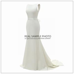 Image 3 - מפעל מחיר תמונה אמיתית סירת צוואר ללא משענת רגיל רך סאטן פשוט חתונה שמלת כלה שמלת FANWEIMEI #906