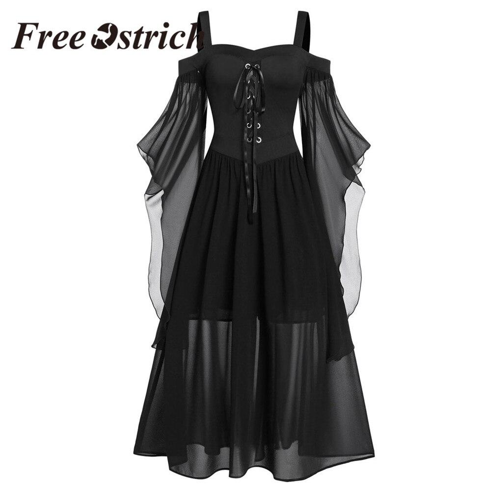 Free Ostrich Halloween Dresses long sexy Women black strap party dress lace a line Vintage Dress plus size 5xl Gothic clothes 1