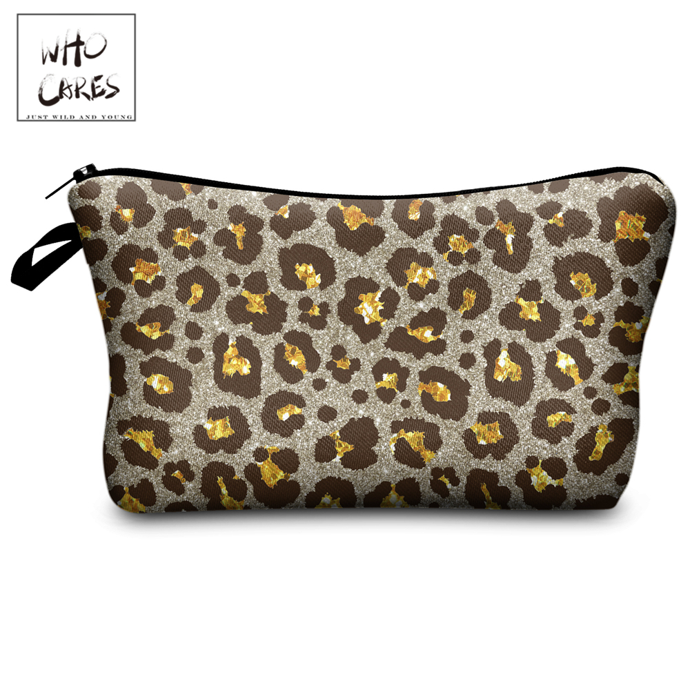 Who Cares Makeup Bags Women Cosmetic Bag Glitter Leopard Printing Oiletry Bag Cosmetics Pouchs For Travel Make Up Bag