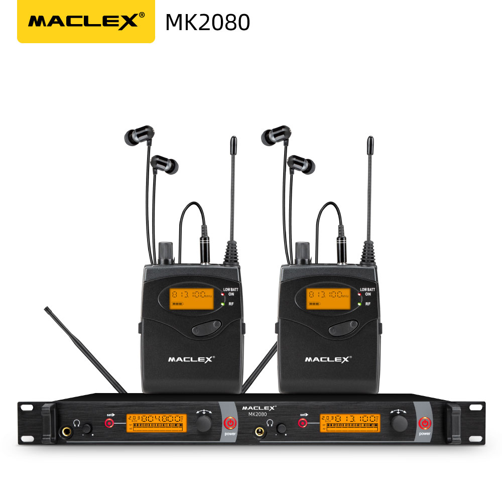 Maclex MK2080 w uchu Monitor bezprzewodowy System SR2050 podwójny nadajnik monitorowania profesjonalny występ na scenie