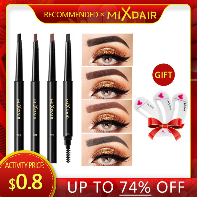 MIXDAIR Eyebrow Enhancer With Stencil Eyes Make Up Tools Cosmetics Natural Long Lasting Paint Waterproof Black Eyebrow Pencil 5