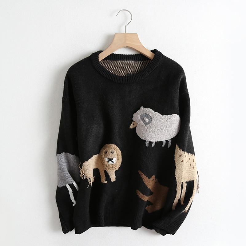 Animal Pattern 2019 Autumn And Winter New Korean Women Sweater All match Long Sleeved Shirt Slim Female Pullover