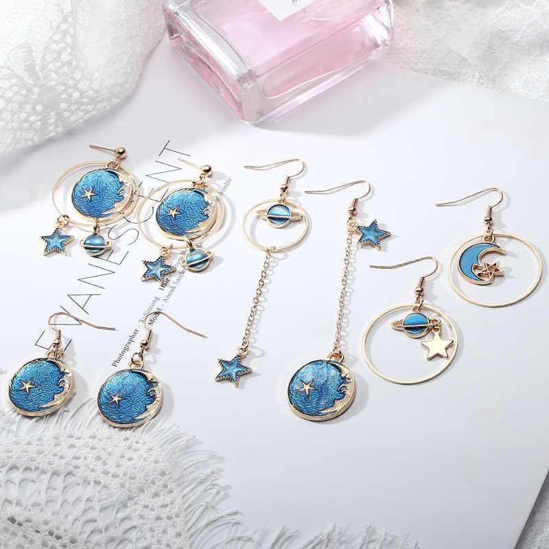 VOHE Fashion Blue Pink Star Moon Star Stud Earrings For Women Gold Color Universe Planet Circle Asymmetry Long Earrings