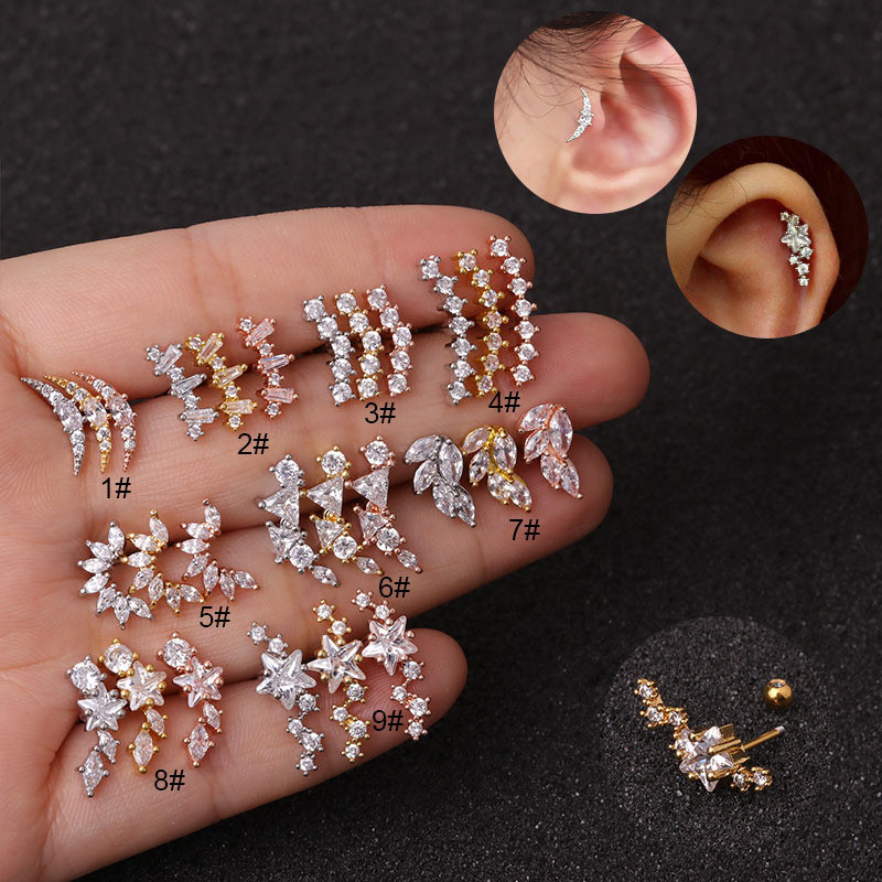 20G Stainless Steel Cubic Zirconia Star Moon Flower Curved Ear Daith Tragus Cartilage Piercing Jewelry Stud Earring