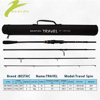 TRAVEL New Fishing Rod Medium 2.40/2.70m Action M Light Weight Carbon Fiber Trip Spinning Lure 40g 4 sections Tackle BESTAC