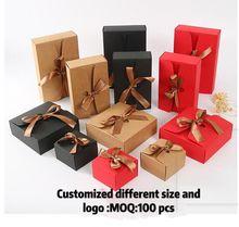 30 stücke Papier Box Geschenk Kraft mit Band, Hochzeit Baby Shower Favor Party Custom Logo Größe