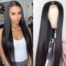 Парик из человеческих волос на сетке спереди парик для черных женщин 13*4 фронтальный парик прямые волосы 30 дюймов бразильские волосы естественного цвета плотность 150