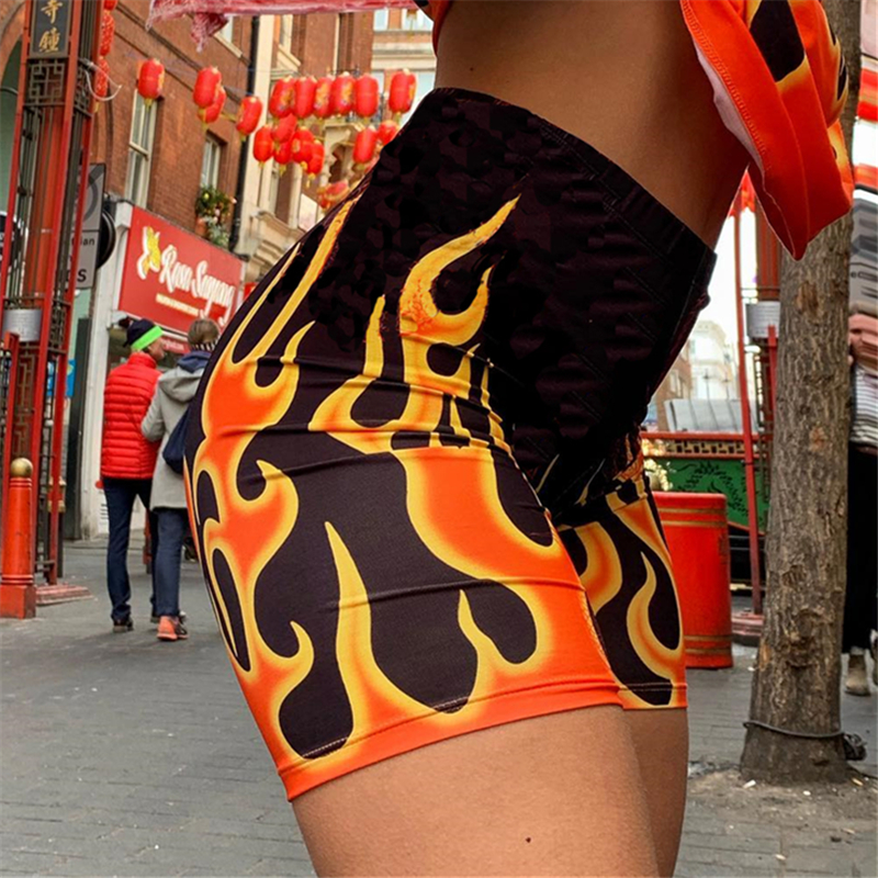 He6405c78048f4e5db181a870688ab597f - Weekeep Streetwear Flame Print High Waist Shorts Women Sexy Fashion Fitness Workout Biker Shorts Short Femme