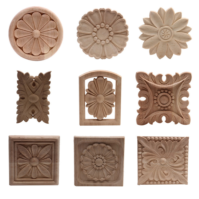 European Carved Unpainted Retro Wood Mouldings Wood Applique Wood Decal Long Oval Rubber Wood Furniture Walls Home Decoration