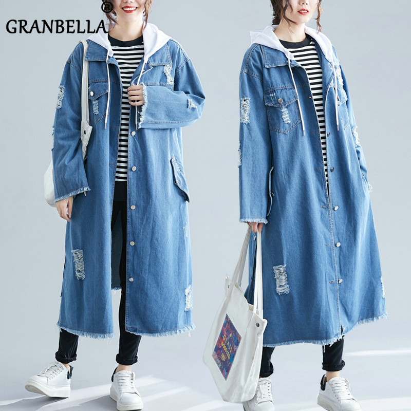 2019 New Hot Long Denim Women   Trench   Coat Loose Full Sleeve Hooded Casual Female Windbreaker Chic Buttons Cardigan