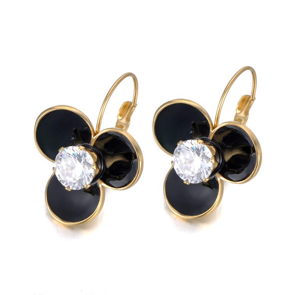Stainless Steel 9mm Round Black Crystal Stud Earrings 455