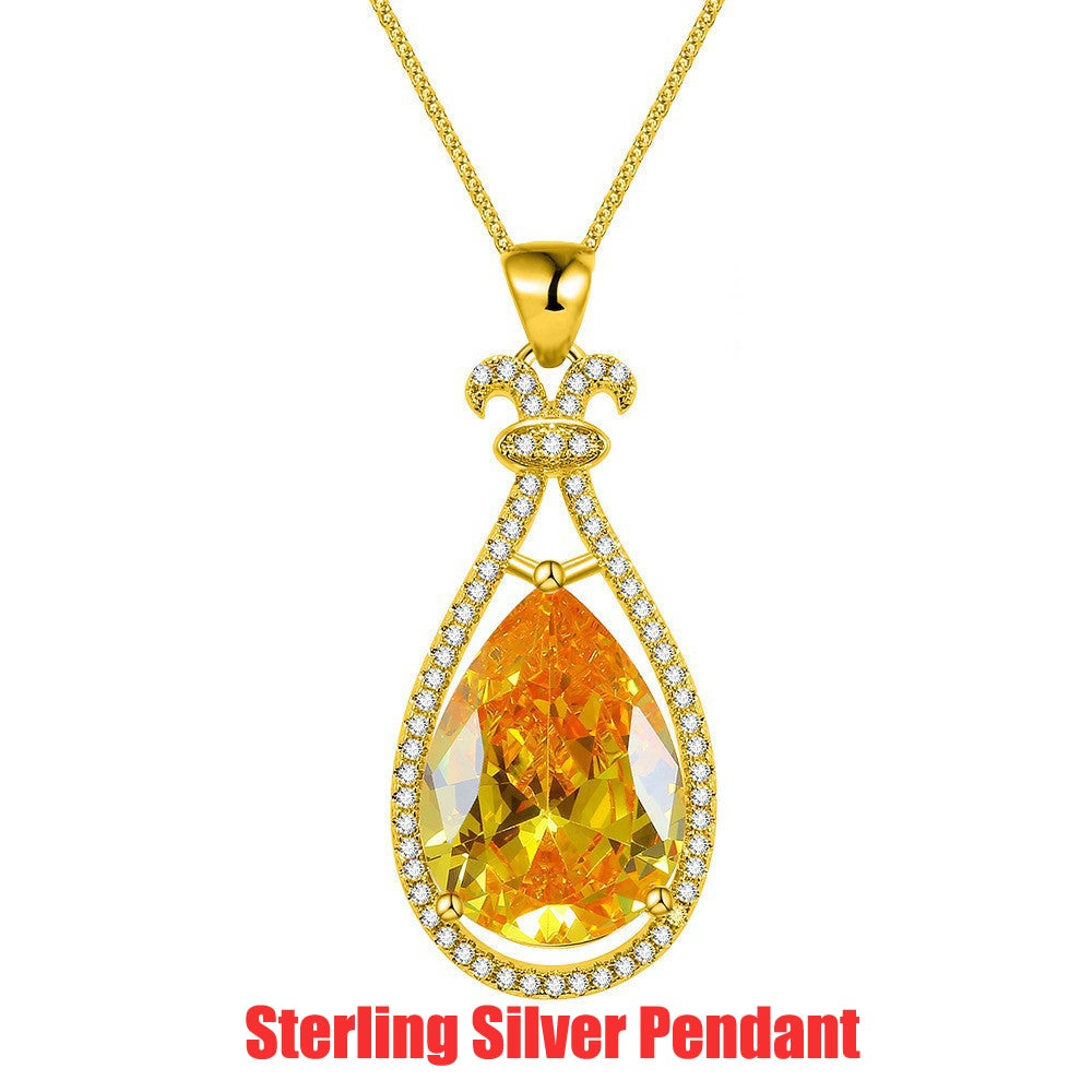 Genuine 14K Gold Filled Sterling Silver Genuine Lab created Topaz AAA ZC Accent Pendant