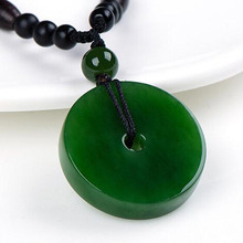 Necklace Jade-Pendant Natural Jewelry Hand-Carved Green Fashion Women's Clasp Safety