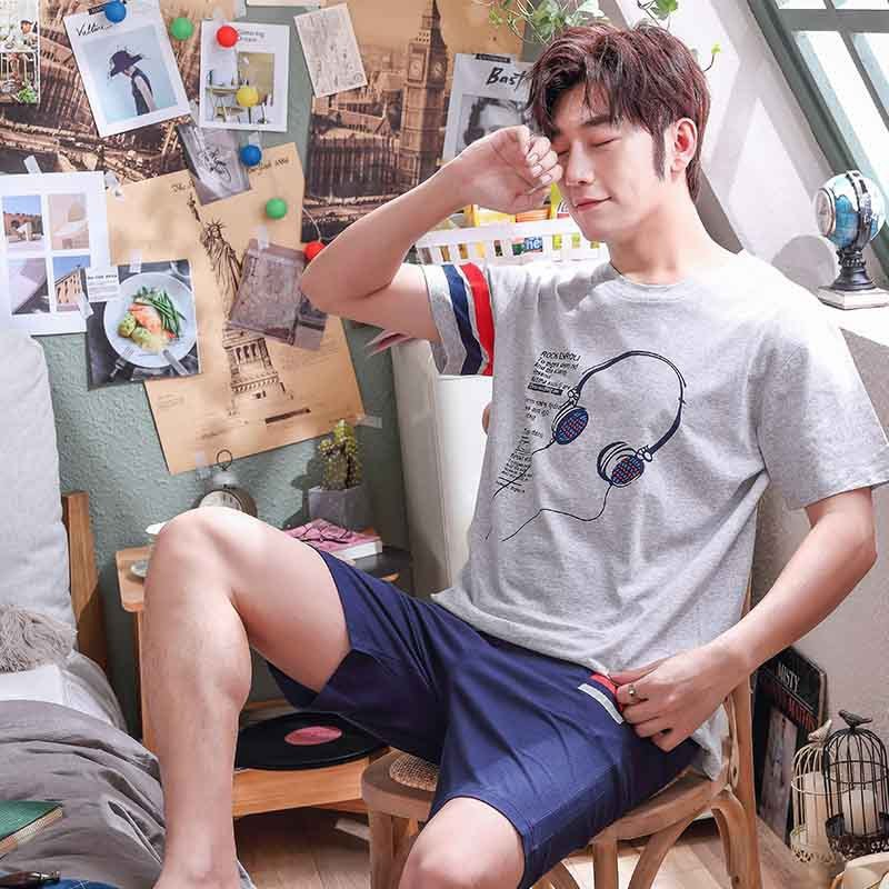 Men's Pajamas Short Sleeve Young And Middle-aged Thin Summer Large Size Season Leisure Korean Home Clothes Suit 2020 New