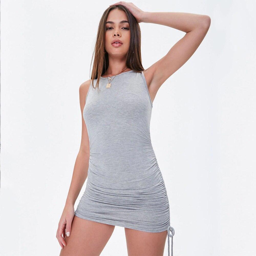 Cotton Ruched Drawstring Sexy Party Dress Women Sleeveless Elastic Mini Dress Vintage Summer Bodycon Club Wear Vestidos 30