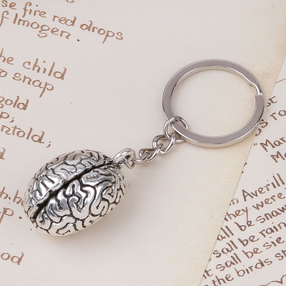 Doreen Box 3D Keychain & Keyring Key Chains Anatomical Human Cerebrum Brain Halloween Jewelry Silver Color Color 1 Piece