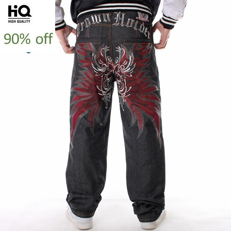 2020 New Fashion Hip Hop Loose Fit Large Size Straight Denim Pants Men Embroidery Street Dance Jeans High Quality Male Trousers