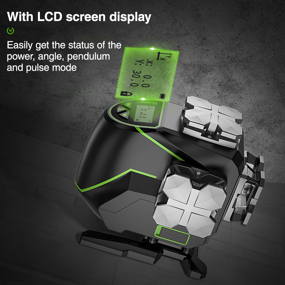 Green 3D Laser Huepar Beam LCD Amp Case Remote Level Functions Carry 12 S03DG With Cross  Hard Control Line Bluetooth Lines  Display