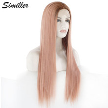 Similler High Temperature Fiber Long Lace Front Wigs for Women Middle Part Straight Hair Dark Root Pink Cosplay Wig(China)
