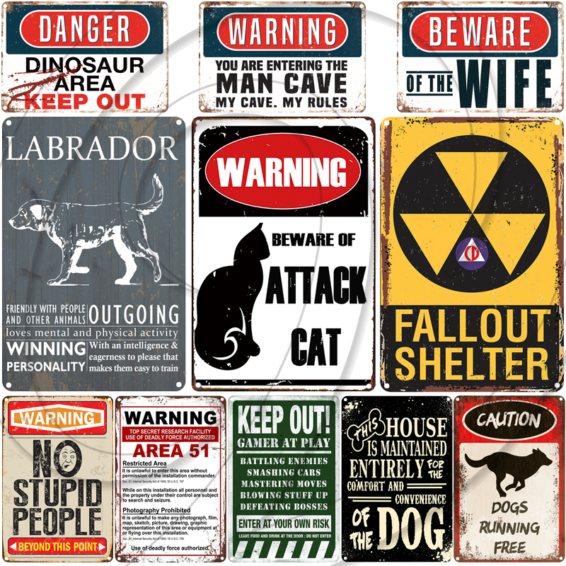 Warning Danger Dinosaur Metal Signs Man Cave Baware of Angry Gamer For Pub Bar Club Home Vintage Wall Plaque image