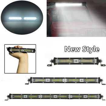 Super Bright Single Row Slim Car LED Work Light Bar 7 13 20 60W 120W 180W Flood Beam For SUV 4X4 ATV Off Road Truck Tractor T image