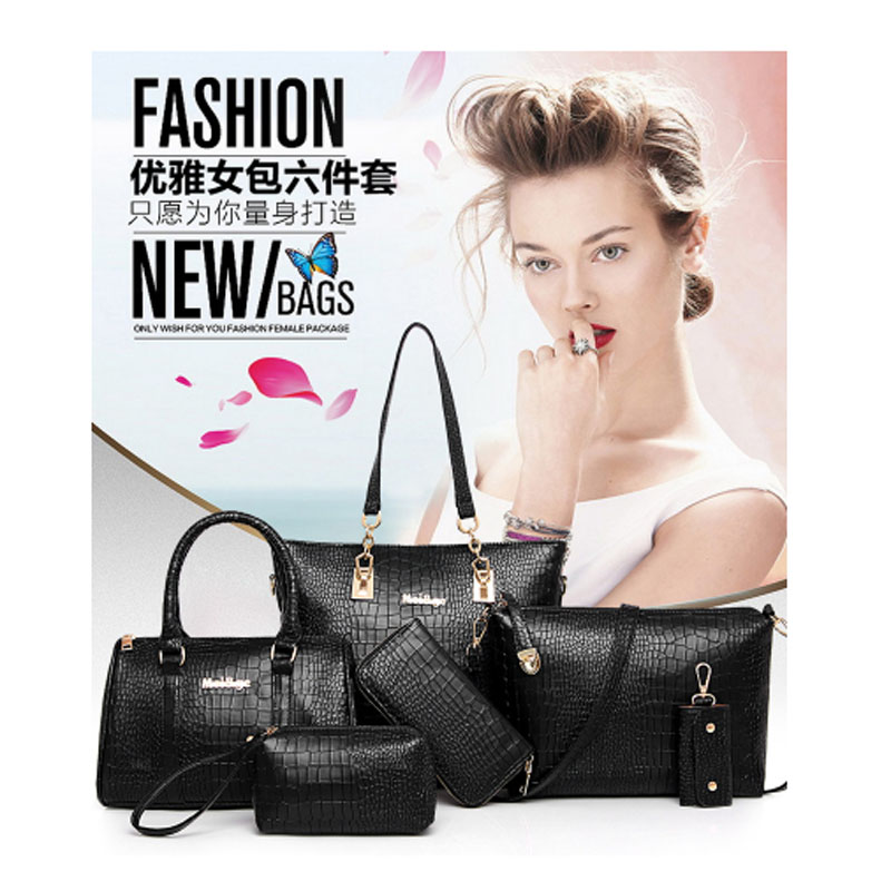 2020 new European and American fashion one - shoulder cross female bag large capacity six - piece portable child mother bag