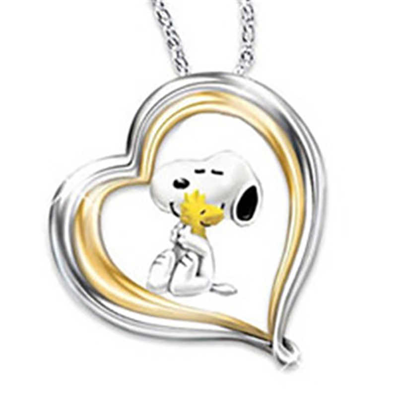 Itenice สัตว์น่ารักสุนัขสร้อยคอจี้ผู้หญิงน่ารักโลหะทองหัวใจ Clavicle สร้อยคอจี้คริสตัล Jwelery